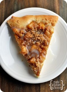 Apple Cinnamon Streusel Dessert Pizza | I added some honey to the dough before baking and used a regular pizza dough recipe with a little extra sugar and some cinnamon. Not great reheated