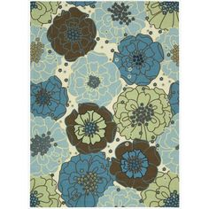 Add a touch of beauty to any living space with this lovely indoor/outdoor rug. The rug is patterned with a bold, blue and beige floral motif and constructed from weather-resistant polyester, making it an eye-catching and functional decor accent.