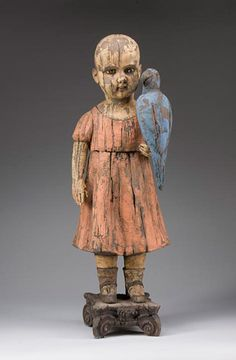 Blue Parrot Red Dress - Margaret Keelan - clay art