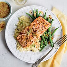 Glazed Salmon with Couscous | Cooking light ...lemon, shallots, white wine, whole grain mustard