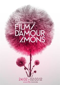 Film. D'amour. de Mons. Festival. Poster. Beauty. Flower. White & Pink. Illustration. Modern. Mic. Colorful. Inspiration. Design. Clean. Message. Fluffy. Technology. Focus. Illustration.