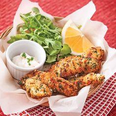 Lanières de poulet en croûte de parmesan et citron - Soupers de semaine - Recettes 5-15 - Recettes express 5/15 - Pratico Pratique