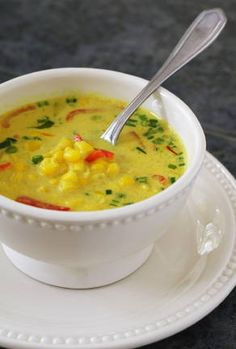 "Nava Atlas' ""Almost Instant"" Thai Coconut Corn Soup. I just made this - it is a favorite in our family."