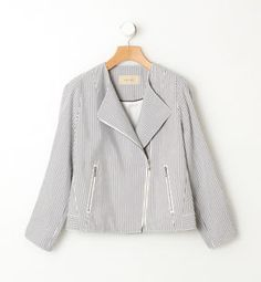 Pin stripe jacket / ShopStyle: Tomorrowland サッカーストライプ ライダースブルゾンStriped Jacket #newfashion #sasssjane #StripedJacket #newmode #nicefashion http://2dayslook.com2dayslook.com
