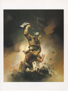 """1990 Vintage KEN KELLY """"REVENGE OF THE VIKINGS"""" w AXE COLOR Art Plate Lithograph in Art, Art from Dealers & Resellers, Prints 