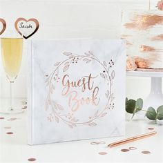 Rose Gold Wedding Guest Book - Wedding Guest Books (each): Rose Gold wedding guest book Includes 50 pages with Rose Gold foiled details on each page Measures x Rose Gold Marble, Rose Gold Foil, Guest Book Tree, Guest Books, Gold Wedding Decorations, Wedding Ideas, Style Deco, Wedding Photo Albums, Party Guests