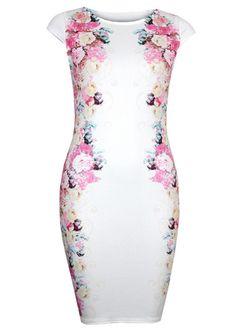 Romantic Sleeve Sheath Dress with Print