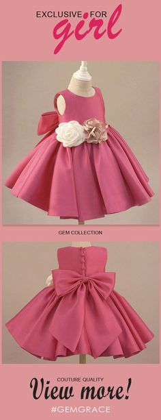 Shop Fuchsia Satin Classic Flower Girl Dress Elegant With Flowers And Bow online. Super cute styles with couture high quality. Cheap Flower Girl Dresses, Little Girl Dresses, Girls Dresses, Flower Girls, Pageant Dresses, Cheap Dresses, Party Dresses, Wedding Dresses, Baby Frocks Designs