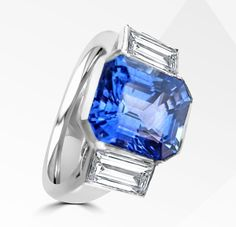 Charles Rose Jewellers have stunning dress rings, including this masterpiece! Featuring an emerald cut cornflower blue sapphire and oversize diamond baguette shoulders, Satchmo is a peerless quality ring for a lifetime of pleasure and admiration.   #charlesrosejewellers #timeless #sapphire #diamond #beautiful #forever #rings #frosting