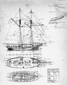 Historical boat blueprint
