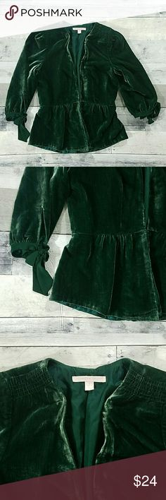"""Rebecca Taylor Green Velvet Peplum Top 22"""" long, 12"""" shoulder to shoulder,  32"""" chest,  27"""" waist, 17"""" arm length.  Fully lined. Hook and eye closure at the waist. 3/4 sleeves that tie up at the end. Deep V Neck.  Good condition. Rebecca Taylor Tops"""