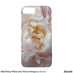 Delicate pink peony watercolor design phone case in soft pink tones for a femminine touch.