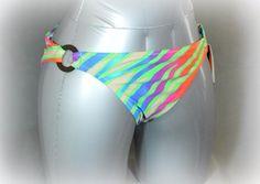 ABS Women's Swimwear Bikini Bottom Multi-Color Striped Size 10 Swim Pant Hipster #ABSbyAllenSchwartz #BikiniBottom