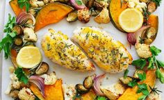 One Pan Lemon & Herb Chicken Recipe | All4Women Food Herb Chicken Recipes, Lemon Herb Chicken, Oven Vegetables, Chicken And Vegetables, Healthy Family Meals, Healthy Snacks, Great Recipes, Side Dishes, Stuffed Peppers