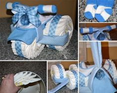 Tricycle Diaper Cake www.TopsyTurvyDiaperCake.com - washcloth favors, washcloth animals, diaper cakes, and baby shower gifts