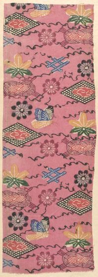 """Fragment of Cotton Textile with """"Bingata"""" (paste-resist) Decoration on Pink Ground, Late Edo period, late 18th to early 19th century, Creation Place: Okinawa Prefecture, Japan,   Vegetable-dyed, handspun cotton with stenciled paste-resist decoration,   49.53 x 17.15 cm (19 1/2 x 6 3/4 in.),   Harvard Art Museums/Arthur M. Sackler Museum, Gift of Margot Warner."""