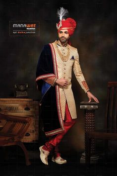 Mens Wedding Sherwani by Manawat Couple Wedding Dress, Wedding Outfits For Groom, Groom Wedding Dress, Wedding Couples, Wedding Ideas, Wedding Men, Indian Wedding Poses, Wedding Dresses Men Indian, Indian Bride Poses