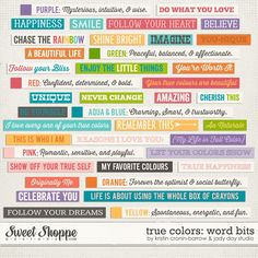 True Colors: Word Bits by Kristin Cronin-Barrow & Jady Day Studio Scrapbook Quotes, Scrapbook Titles, Scrapbook Stickers, Free Printable Stickers, Printable Designs, Cute Stickers, Journal Stickers, Journal Cards, Envelope Book
