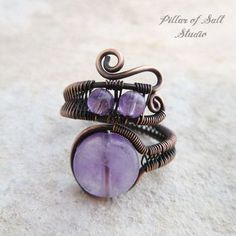 Amethyst adjustable copper wire wrapped ring