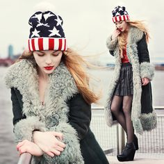 Black Wedges, Old Glory Wool Cap, Black Pleated Skirt