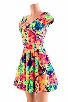 526512cc Acid Splash Skater Dress – Coquetry Clothing Sonic Bloom, Lycra Spandex,  Clubwear, Fit