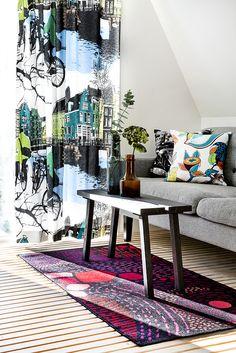 Amsterdam curtain by Riina Kuikka, Revontuli rug by Eveliina Netti, Fruity cushion by Saara Kurkela, Times Square cushion by Matleena Issakainen