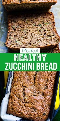 Healthy Zucchini Bread – Refined Sugar Free So moist! Healthy Zucchini Bread with applesauce, whole wheat flour and low sugar and low fat. Super delicious, easy and moist zucchini recipe. Zucchini Bread Muffins, Gluten Free Zucchini Bread, Healthy Bread Recipes, Zucchini Bread Recipes, Healthy Sweets, Healthy Baking, Baking Recipes, Dessert Recipes, Recipes
