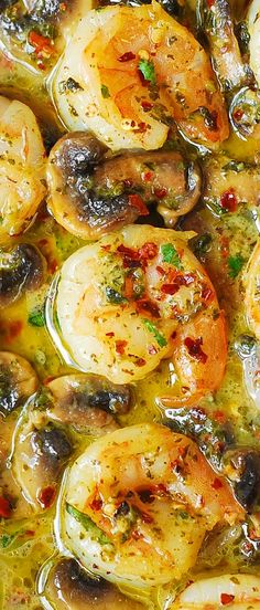 Pesto Garlic Shrimp with Mushrooms.  Easy dinner recipe.