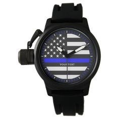 Personalized Thin Blue Line Graphic on a US Flag Wrist Watch