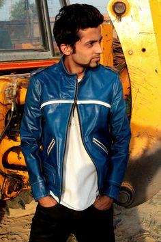 Blue leather biker jacket elegantly sporty with cool look...
