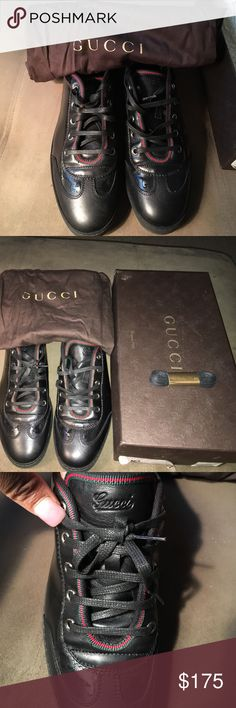 Women's Gucci sneakers size 10 black Gently used, dust bag and box included. Very comfortable. These sneakers have been sitting in my closet for a long time. Not really my style anymore. Gucci Shoes Sneakers
