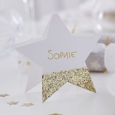 Gold Glitter Star Shaped Christmas Place Cards by Ginger Ray, the perfect gift for Explore more unique gifts in our curated marketplace. Christmas Place Cards, Christmas Names, Gold Christmas, Xmas Cards, Christmas Crafts, Christmas Birthday, Diy Place Cards, Wedding Place Cards, Card Wedding