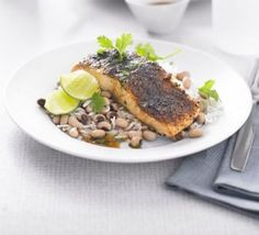 Pepper lime salmon with black-eyed beans