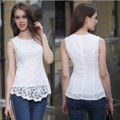 New Ladie Womens Lace Blouse Sleeveless shirt Doll Chiffon Tops 2 color S M L XL Lace Tops, Chiffon Tops, Lehenga, Sexy Shirts, Lace Shirts, Lace Blouses, Europe Fashion, Dress Patterns, Blouse Designs