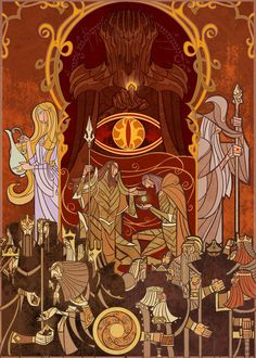 Lord of the Rings Stained Glass-Style Art by Jian Guo