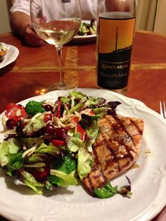 Food is Best Served with Yummy Wines. Grilled Salmon, Salad and @Sarah Stoney mesa Blanca Del Mesa