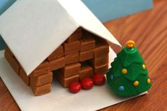 {Caramel Cabins} This is such a fun idea. I imagine it would keep my ladies occupied for well over an hour: unwrapping, stacking, decorating... so cute.