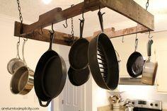 Pot rack from pallet! Homestead Kitchen Tour | areturntosimplicity.com