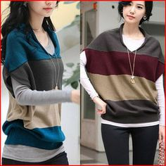 Fashionable Style Loose-Fitting Splicing Color Dolman Sleeves Artificial Wool Women's Cardigan