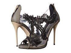 Oscar de la Renta - Ambria 115mm (Beige/Black Patent Leather) Women's Toe Open Shoes