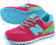 buy popular 7560b 0fd16 New Balance Pink Green Blue Womens Shoes