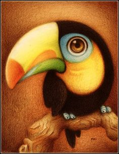 Un tucan. by faboarts Traditional Art / Drawings / faboarts Art And Illustration, Illustrations, Cute Drawings, Animal Drawings, Drawing Sketches, Whimsical Art, Bird Art, Traditional Art, Cute Art