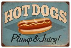 Vintage and Retro Wall Decor - JackandFriends.com - Retro Hot Dogs Tin Sign 1, $58.97 (http://www.jackandfriends.com/vintage-hot-dogs-metal-sign-1/)