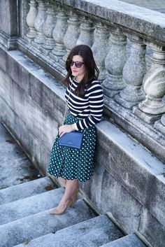 Mixed print look, J.Crew Pleated Skirt, Spring Mixed Prints, J.Crew Navy Stripe Sweater, Kate Spade Nude Heels, Chicago Blogger, A Lily Love Affair