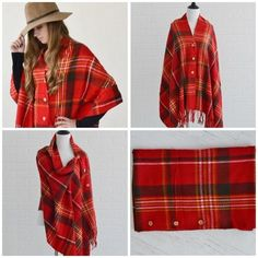 Buttoned Up Poncho in Red