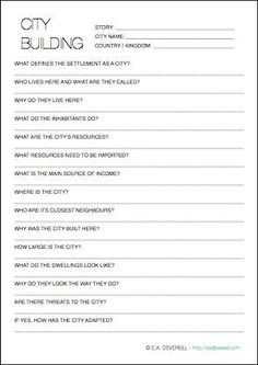 This writing worksheet has 3 pages of questions to help bring your fictional city to life.