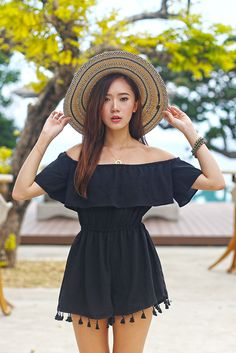 spring / summer - street chic style - street style - party style - beach style - summer outfit ideas - black off the shoulder pom pom romper + blue and cream wide brim fedora + black and gold sandals
