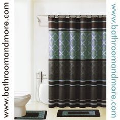Bathroom And More Regal Brown And Teal Print Bathmat And Fabric Shower Curtain Set