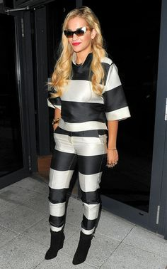Stripe a light! Singer Rita Ora is known for her flamboyant outfits ¿ but this Stella top (worth and trousers look like a zebra crossing Celebrity Outfits, Celebrity Look, Stella Mccartney, Rita Ora, Oras, Fashion News, Nice Dresses, Winter Outfits, Vogue