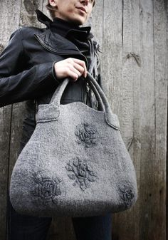 wet felted merino wool  handbag with hand woven flower decor. Natural grey color of textured  thick handmade felt.   Soft , yet durable.  Handbag fastens with magnetic closure.Size: 15.35''x14.2'' (with handles 18'').